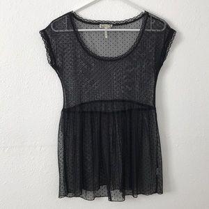 sheer black lace top